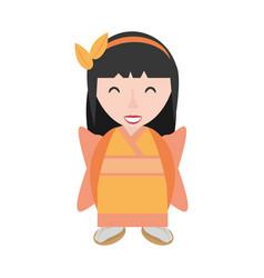 Smiling geisha kimono diadem vector
