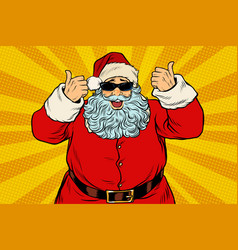 thumbs up santa claus in sunglasses vector image