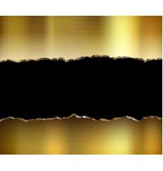 torn golden metal plate broken steel background vector image
