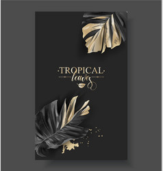 Tropic banana leaf black and gold banners vector