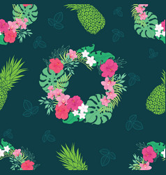 Tropical orchid hibiscus flowers wreath pattern vector