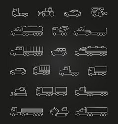 trucks cars machines line icons set vector image