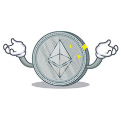 Up ethereum coin character cartoon vector