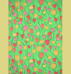 Vertical card with cute cartoon colored flowers vector