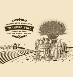 vintage thanksgiving landscape brown vector image