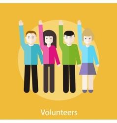 Volunteer Group Raising Hands vector image