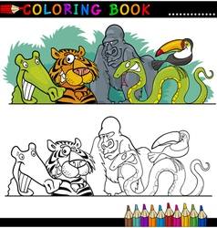 Wild Jungle Animals for Coloring vector image vector image