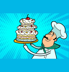 chef cook character with cherry cake vector image vector image