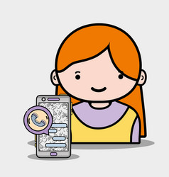 girl with smartphone whatsapp app to call and chat vector image