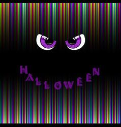 Halloween card violet predatory monster eyes and vector