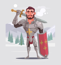 handsome brave smiling knight character vector image