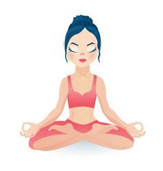 meditating yoga girl sitting in lotus pose vector image vector image