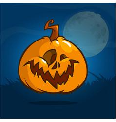 pumpkin for halloween on dark background vector image vector image