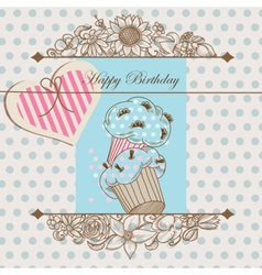 Birthday card or baby shower template vector image vector image