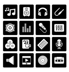 Black Music sound and audio icons vector image vector image