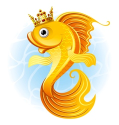 magic goldfish with a crown vector image
