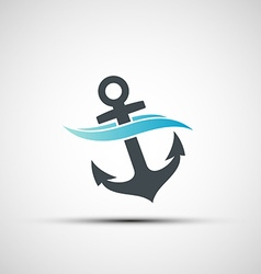 Ship anchor and wave vector image vector image