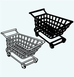 Shopping cart grocery trolley vector image