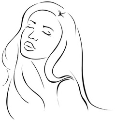 Beautiful sensual young woman - black line vector image