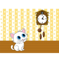 Kitten watching cuckoo clock vector image
