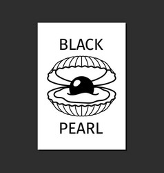 black pearl in shell logo template vector image vector image