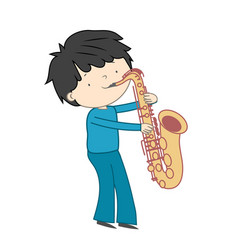 boy playing saxophone isolated on white vector image
