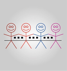 Four happy stick figures with houses vector image vector image