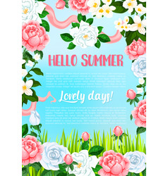 Greeting poster of flowers for hello summer vector