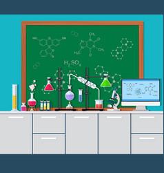 laboratory equipment jars beakers vector image