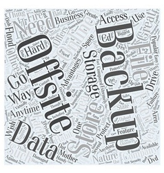Offsite backup advantages word cloud concept vector