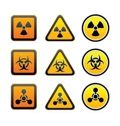 Set hazard warning radiation symbols vector