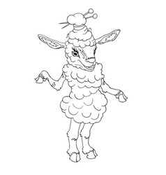 sheep fermale hand drawn vector image