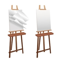 Wooden easel on a white background vector image vector image