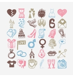 36 hand drawing doodle icon set wedding sketchy vector
