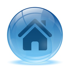 3D glass sphere home icon vector image