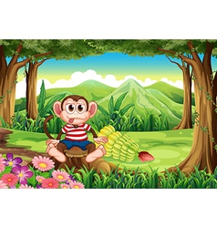A forest with a monkey above the stump vector