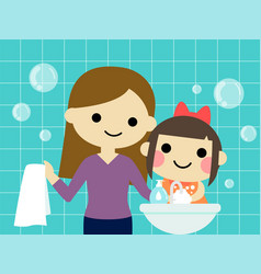 A little girl is washing hand with mommy cartoon vector