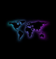 abstract world map silhouette on black background vector image