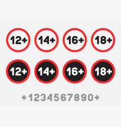 Age limit sign sticker set vector