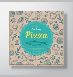 Anchovy fish pizza realistic cardboard box vector