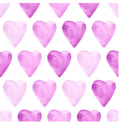Aquarelle violet seamless pattern with hearts vector
