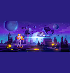 Astronaut on alien planet and flying spaceship vector