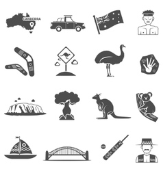 Australia Black White Icons Set vector image
