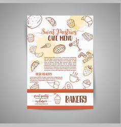 bakery poster template with pastries sweet pastry vector image