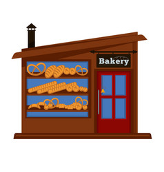 Bakery shop booth facade building of bread vendor vector