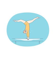 Balance beam gymnastics and professional sport vector