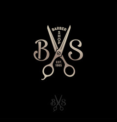 barbershop logo b and s letters with scissors vector image