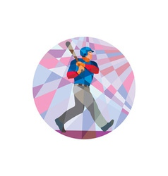 Baseball batter hitter batting low polygon vector