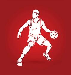 Basketball player action cartoon sport graphic vector