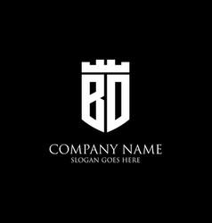 Bd initial shield logo design inspiration crown vector